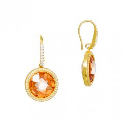 gold earrings with round champagne stone