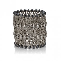 silver cuff with hematite beads