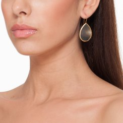 gold earrings with mother of pearl stone