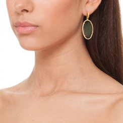 gold earrings with mother of pearl centre