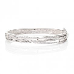 silver bangle with multi pave lines