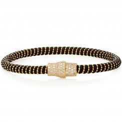 black leather bracelet with gold pave magnetic clasp