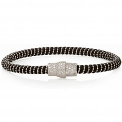 black leather bracelet with silver pave magnetic clasp
