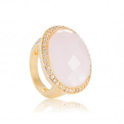 gold ring with pink oval stone and pave