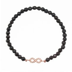 black beaded bracelet with rose gold infinity