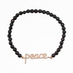black beaded bracelet with rose gold peace
