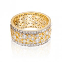 gold eternity ring with silver rows and clear stones