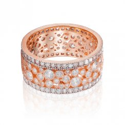 rose gold eternity ring with silver rows and clear stones