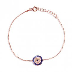 rose gold bracelet with round evil eye