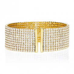 gold bangle with 10 rows of pave
