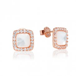 small rose gold stud earrings with mother-of-pearl centre and pave surround