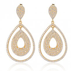 gold earrings with pave pear shapes