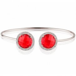 silver bangle with two red crystals