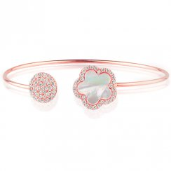 rose gold bangle with mother of pearl flower and pave disc