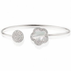 silver bangle with mother of pearl flower and pave disc