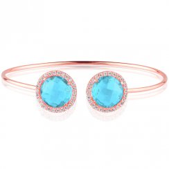 rose gold bangle with two blue crystals