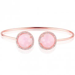 rose gold bangle with two pink quartz crystals