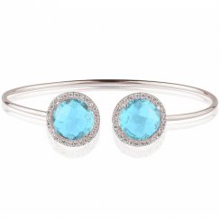 silver bangle with two blue crystals