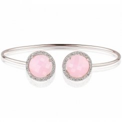 silver bangle with two pink quartz crystals