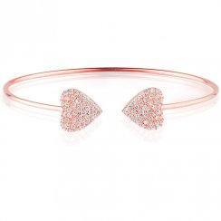 rose gold bangle with two pave hearts