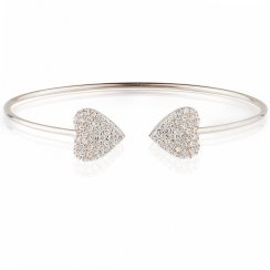 silver bangle with two pave hearts