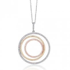 three colour necklace with large open pave circles