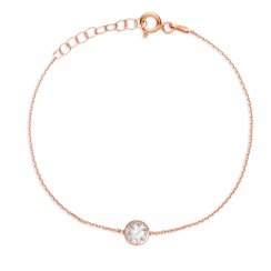 rose gold ankle chain with large single crystal