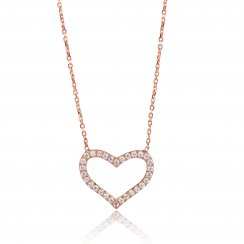 rose gold necklace with open pave heart