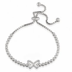 silver adjustable tennis bracelet with pave butterfly