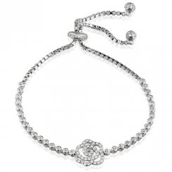 silver adjustable tennis bracelet with open pave rose
