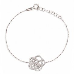silver chain bracelet with open pave rose