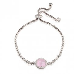 silver tennis bracelet with rose quartz stone in pave surround