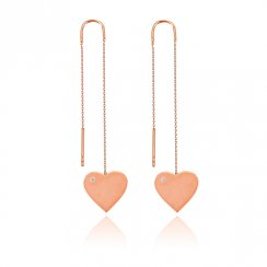 rose gold threader earring with heart design