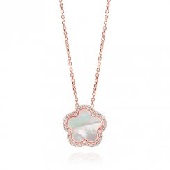 rose gold plated necklace with white mother of pearl flower