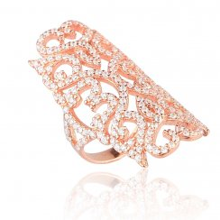 Rose gold filigree ring with heart shapes