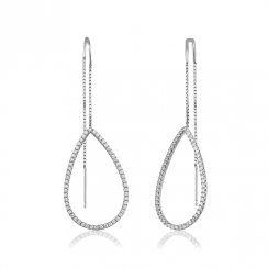 Silver threader earring with open pave pear