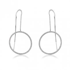 Silver threader earring with open pave circle