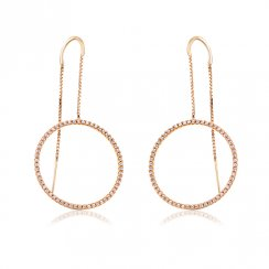 Gold threader earring with open pave circle