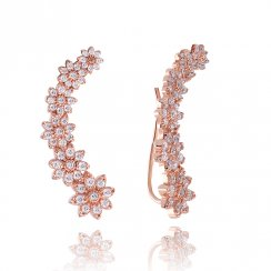 rose gold ear bar with pave flowers