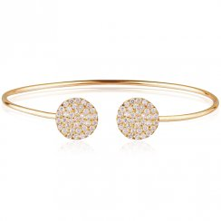 Gold adjustable bangle with two pave discs