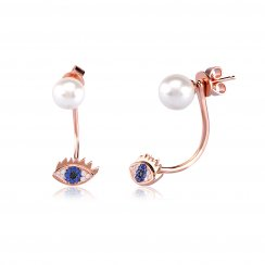 Rose gold ear jacket with pearl and evil eye