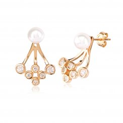 Gold ear jacket with pearl and round cubic zirconia stones