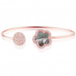 Rose gold bangle with grey mop flower and pave disc
