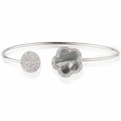 Silver bangle with grey mop flower and pave disc