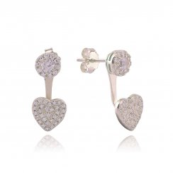 Silver swing earring with pave heart