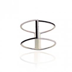 Silver pave line ring with one line of black czs