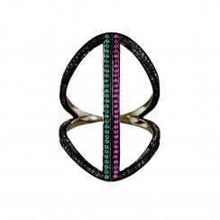 Black rhodium ring with multi coloured stones