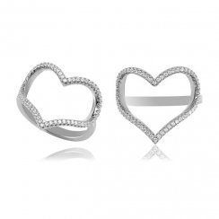 Silver open pave heart ring