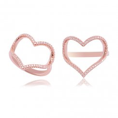 Rose gold open pave heart ring