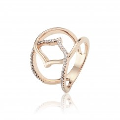 Rose gold ring with centre open hand